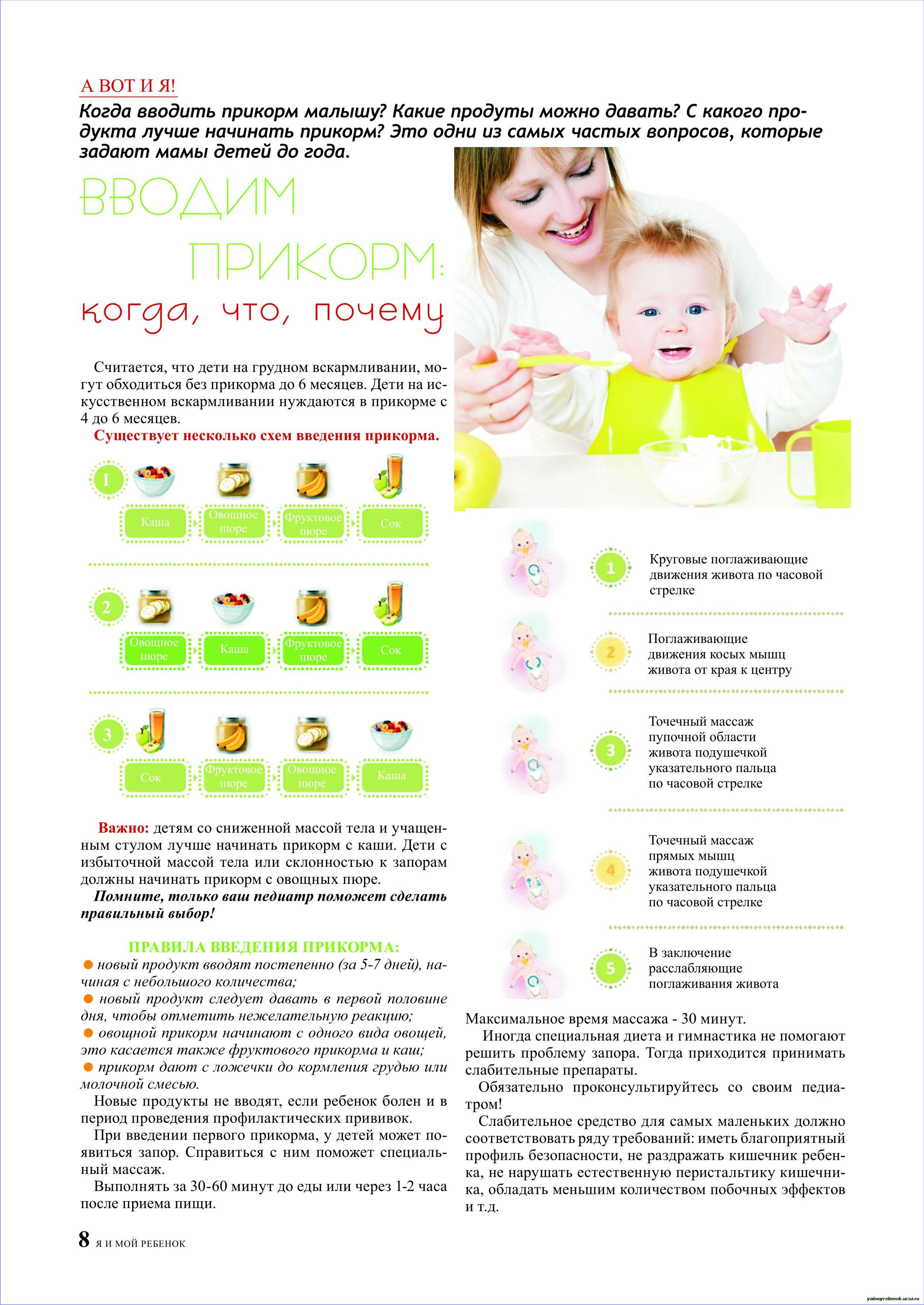 Прикорм в 5 месяцев овощи схема